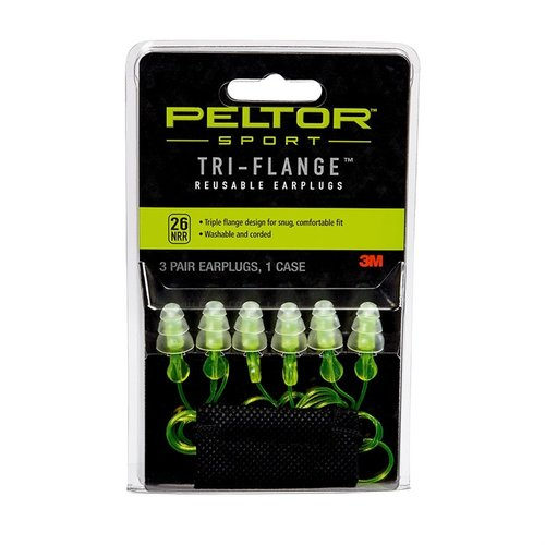 Sport Reusable Tri-Flange Earplugs-3 Pair
