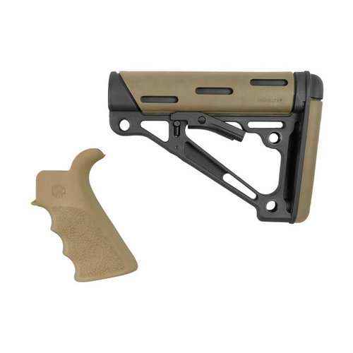 AR-15 FG BT Grip& OverMold Buttstock Collapsible Comm FDE